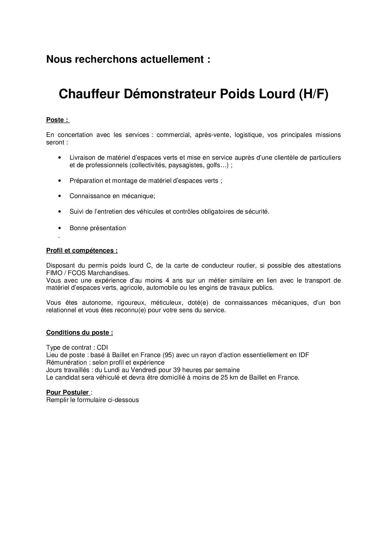 Chauffeur Démonstrateur Pour Agence De Baillet En France