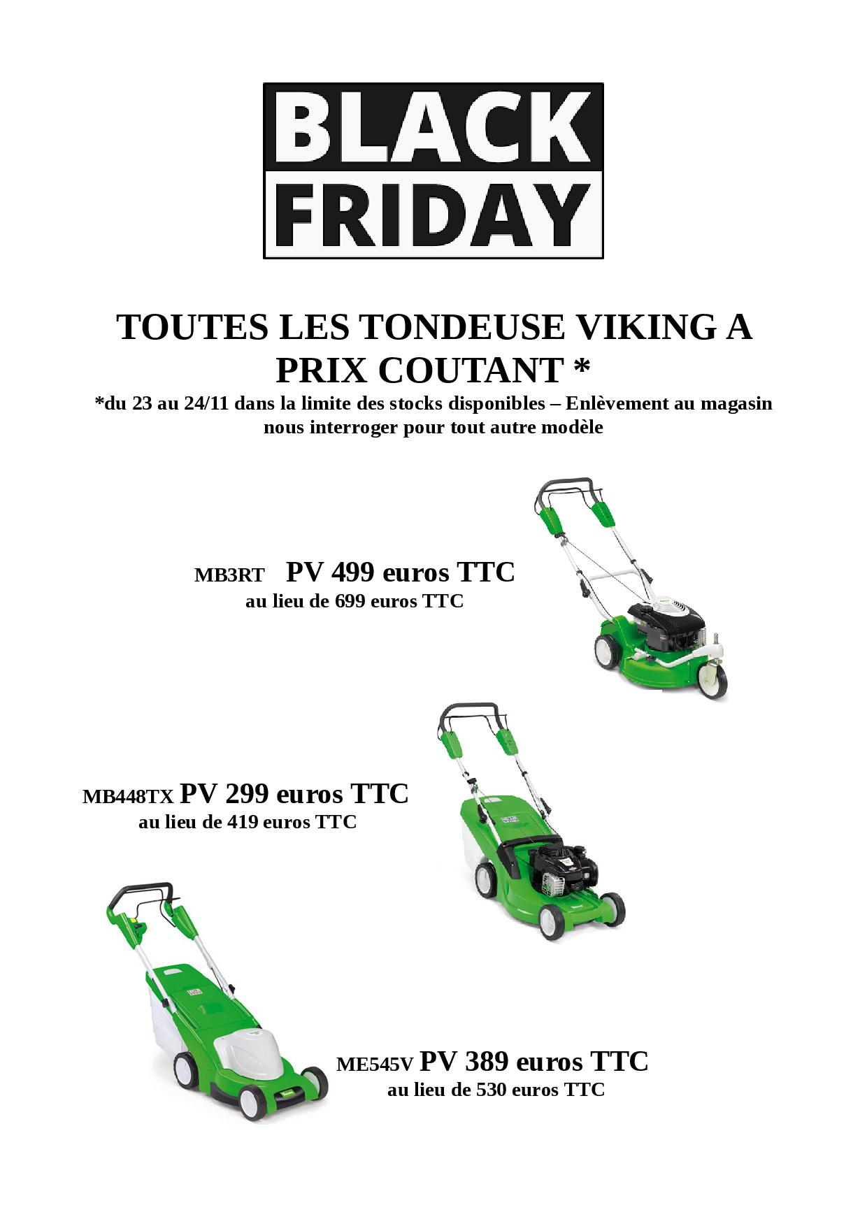 black friday tondeuses viking