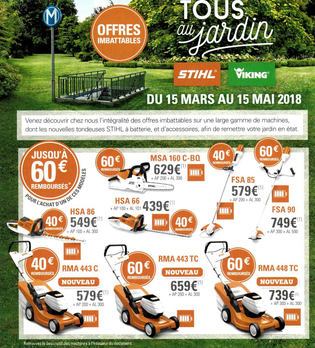 tous au jardin avec stihl du 15 mars au 15 mai 2018 duport. Black Bedroom Furniture Sets. Home Design Ideas